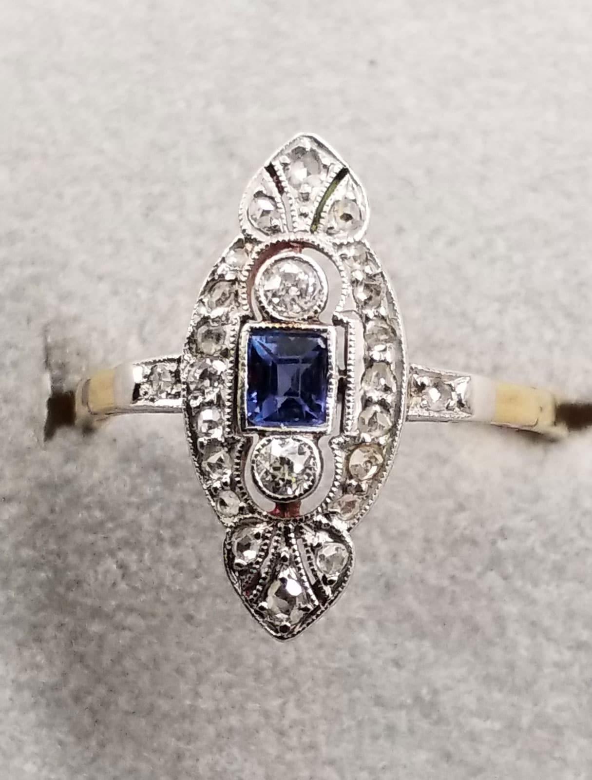 Antragsring Retro Gelbgold 585/- Safir und Diamanten