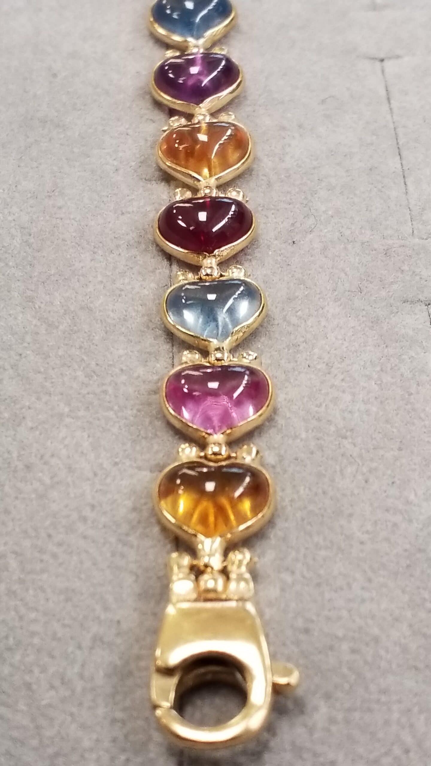 Armband Gelbgold 750/- Steine Turmalinherzen 19,5 cm